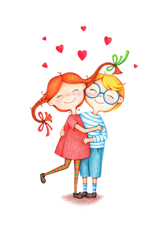hand drawn picture of two children hug each other by the color pencils on white background. illustration of a sentimental couple in love bonding