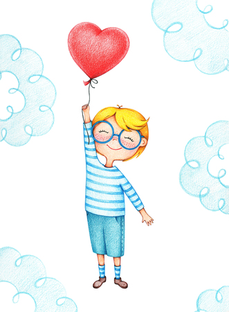 hand drawn picture of kid flying with red balloon by the color pencils. illustration of sentimental happy boy