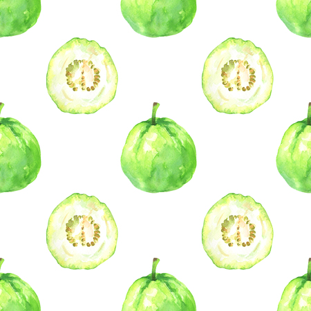Hand painted minimalist seamless pattern with watercolor slices and whole guava isolated on white background