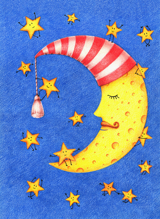 hand drawn illustration of cute sleeping moon in a white and red striped nightcap and funny little smiling stars in the sky by the color pencils on white background. Good night card Banque d'images