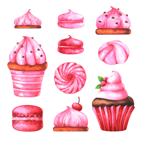 Hand painted illustration with watercolor macaroons, marshmallows and muffin with cream isolated on white background