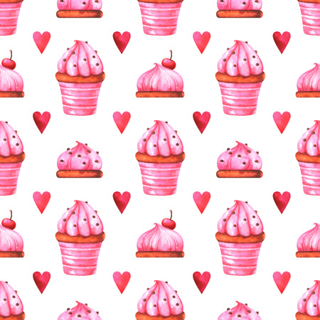 Hand-painted seamless pattern with watercolor muffin, cake and red heart isolated on white background