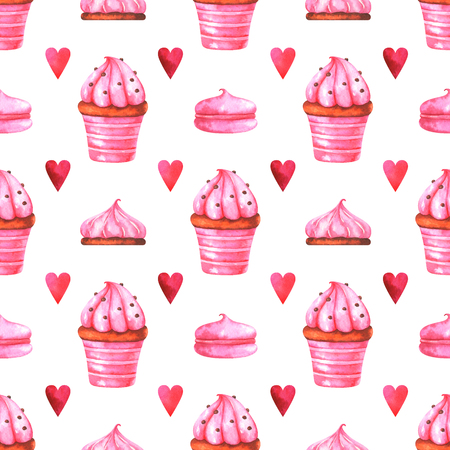 Hand-painted seamless pattern with watercolor muffin, cake, marshmallow and red heart isolated on white background