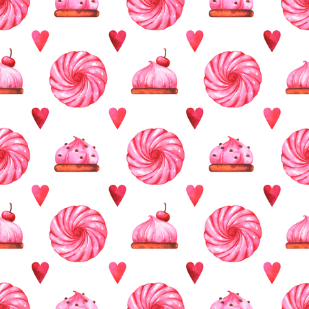 Hand painted abstract pattern with watercolor cake, marshmallow and red heart isolated on white background
