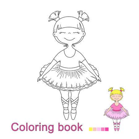 vector illustratiol of little beautiful girl ballet dancer for coloring book