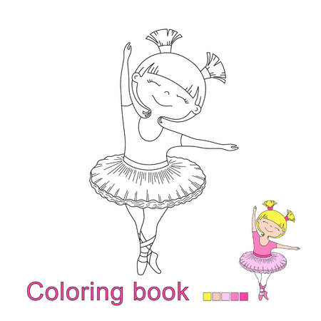 vector illustratiol of little beautiful girl ballet dancer for coloring book