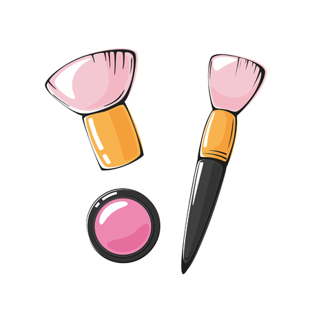 fashion vector illustration of pink blush and makeup brush isolated on white background
