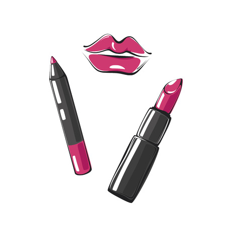 fashion vector illustration of lips, lipstick and lip pencil isolated on white background