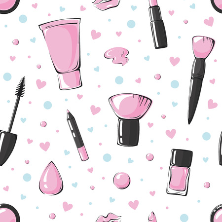 fashion vector seamless pattern with lips, lipstick, blush, makeup brush, foundation, sponge, mascara, nail polish, lip pencil, hearts and circles isolated on white background Illustration