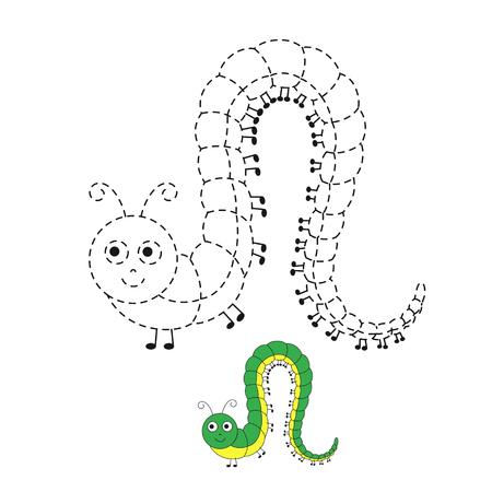 El dibujo vectorial funciona para niños en edad preescolar con un nivel de dificultad de juego fácil. Juego educativo simple para niños. Ilustración de oruga divertida para niños pequeños Ilustración de vector