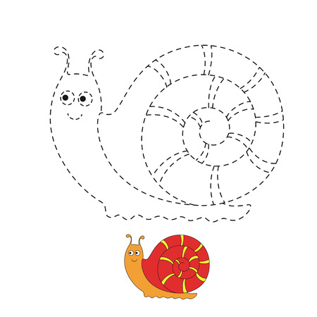 Vector drawing works for preschool kids with easy gaming level of difficulty. Simple educational game for kids. Illustration of funny snail for toddlers