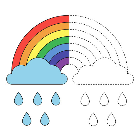 Vector drawing works for preschool kids with easy gaming level of difficulty. Simple educational game for kids. Illustration of rainbow, clouds and raindrops for toddlers
