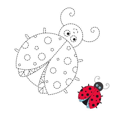 Vektorgrafik-Arbeitsblatt für Kinder Einfaches Lernspiel für Kinder. Illustration des lustigen Marienkäfers für Kleinkinder
