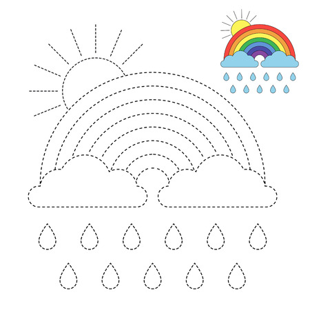 Vector drawing worksheet for kids Simple educational game for kids. Illustration of rainbow, clouds and sun for toddlers Illustration