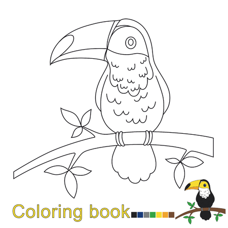 vector illustration for toucan for coloring book Foto de archivo - 110860726