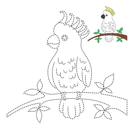 Vector tekening werkblad voor kinderen Eenvoudig educatief spel voor kinderen. Illustratie van kaketoe zittend op een tak voor peuters