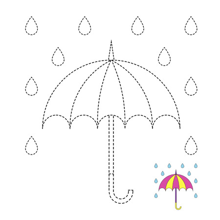 Vector drawing worksheet for kids Simple educational game for kids. Illustration of umbrella and raindrops for toddlers