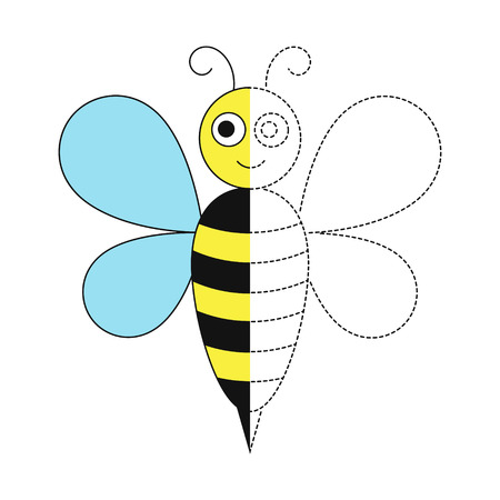 Vector drawing worksheet for kids Simple educational game for kids. Illustration of bee for toddlers
