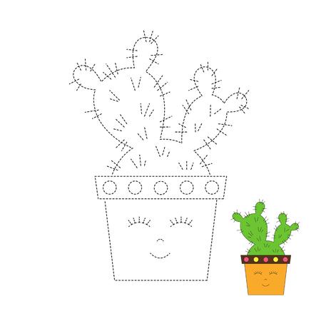 Vektorgrafik-Arbeitsblatt für Kinder Einfaches Lernspiel für Kinder. Illustration des Kaktus im lustigen Topf für Kleinkinder Vektorgrafik