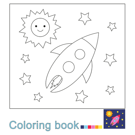 Vector illustration of the Sun, stars and flying rocket. Simple educational game for kids Standard-Bild - 115455737