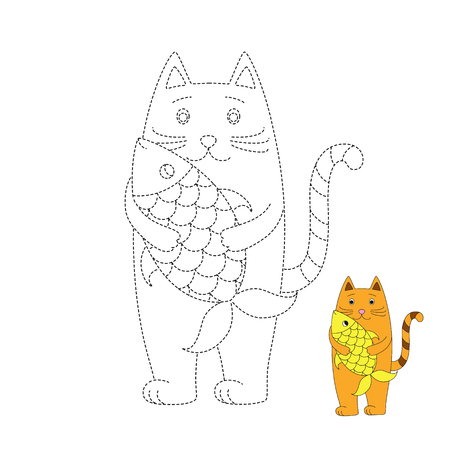 Vector drawing worksheet for kids Simple educational game for children. Illustration of red cat and gold fish Standard-Bild - 115455738