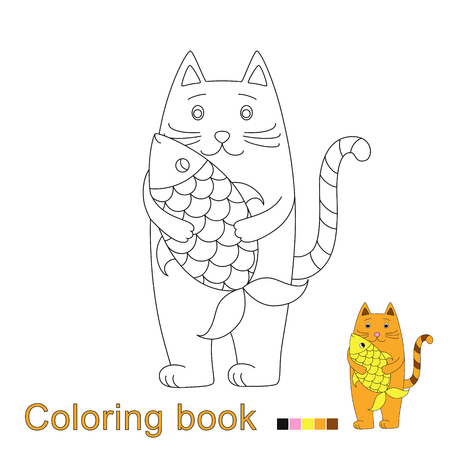 Vector illustration of red fish for coloring book. Simple educational game for kids Standard-Bild - 115455739