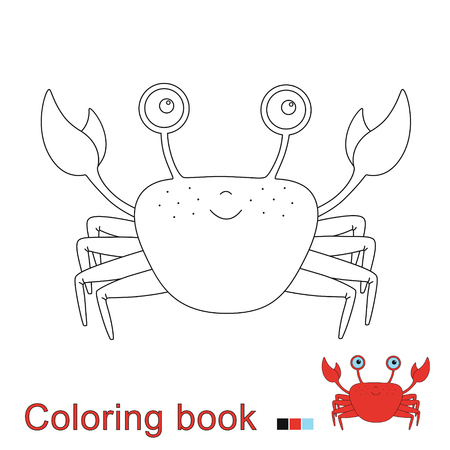 Vector illustration of funny crab for coloring book. Simple educational game for kids Standard-Bild - 115455740