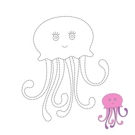Vector drawing worksheet for kids Simple educational game for children. Illustration of funny swimming jellyfish Standard-Bild - 115455742