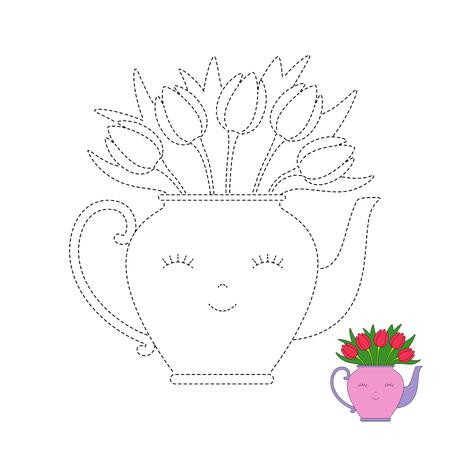 Foglio di lavoro di disegno vettoriale per bambini Semplice gioco educativo per bambini. Mazzo di tulipani in una simpatica teiera