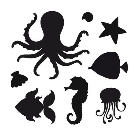 Vector set of black stylized silhouettes of marine animals Standard-Bild - 115455744