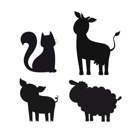 Vector set of black stylized silhouettes of domestic animals Standard-Bild - 115455745