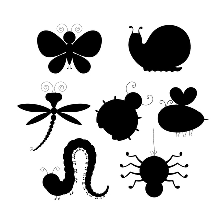 Vector set of black stylized silhouettes of insects