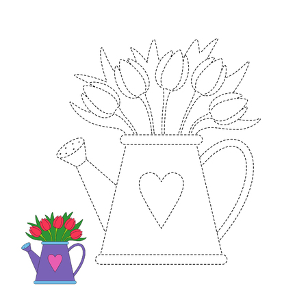 Vector worksheet for preschool kids with easy gaming level of difficulty. Simple educational game for children. Illustration of tulip bouquet in watering can 일러스트