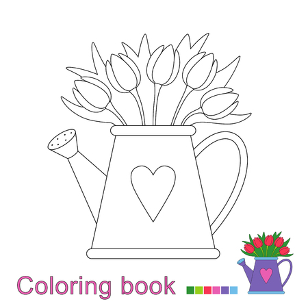 Vector illustration of a watering can water color for a book. Simple educational game for kids Standard-Bild - 115455750
