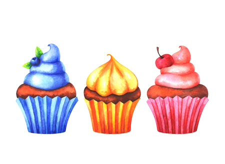 Hand painted set of watercolor colorful muffins isolated on white background Standard-Bild - 115455755