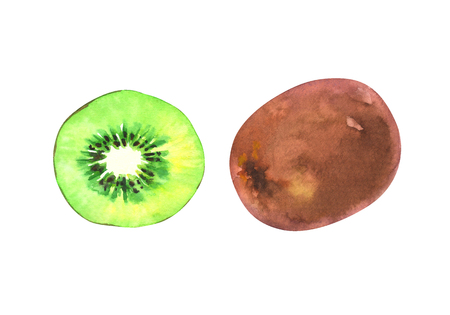 hand painted watercolor illustration of a slice and whole kiwi isolated on white background Standard-Bild - 118965886