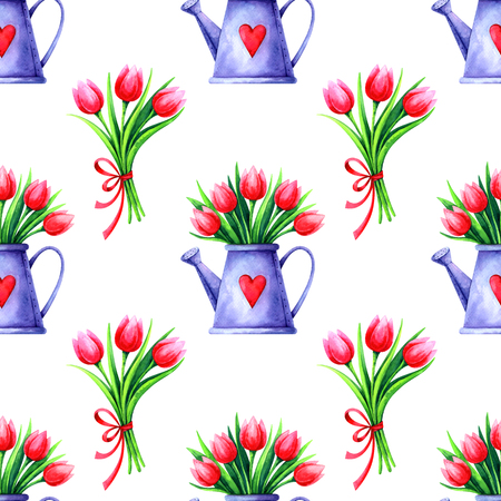 seamless pattern with watercolor tulip bouquets isolated on white background Standard-Bild - 118965894