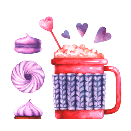 watercolor illustration of macaroon, marshmallow and coffee cup Standard-Bild - 118965895