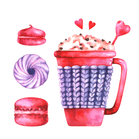watercolor illustration of macaroon, marshmallows and coffee cup Standard-Bild - 118965897