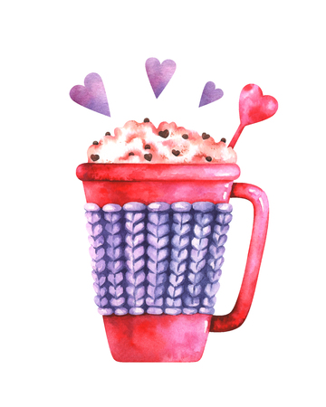 watercolor illustration of coffee cup and purple hearts Standard-Bild - 118965898