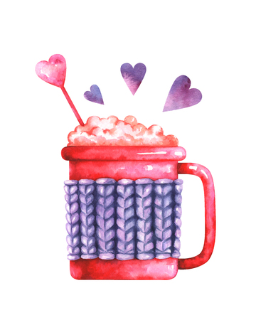 watercolor illustration of coffee cup and purple hearts Standard-Bild - 118965899