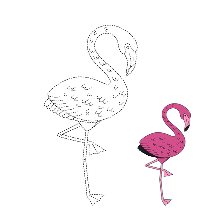 Vector drawing worksheet for kids Simple educational game for children. Illustration of flamingo for toddlers Standard-Bild - 118965902