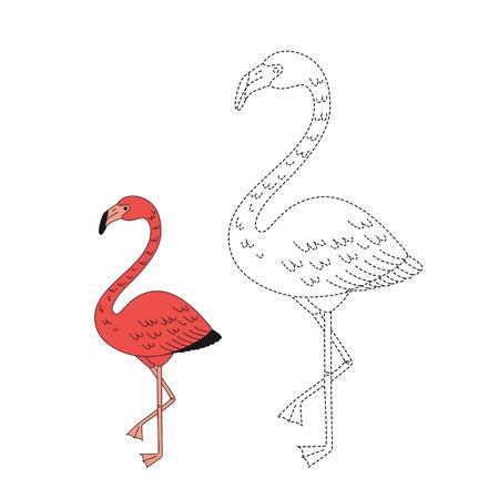 Vector drawing worksheet for kids Simple educational game for children. Illustration of flamingo for toddlers Standard-Bild - 118965903