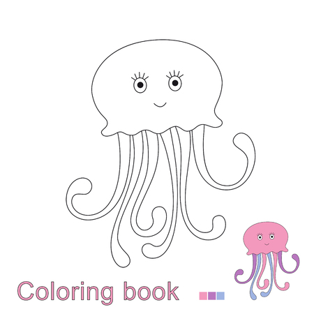 Vector illustration of jellyfish for coloring book. Simple educational game for kids Standard-Bild - 118965905