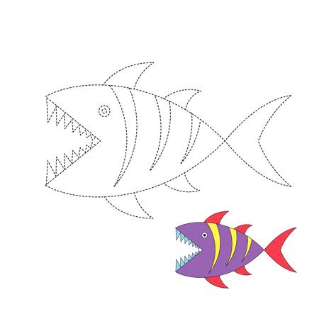Foglio di lavoro di disegno vettoriale per bambini Semplice gioco educativo per bambini. Illustrazione di squalo per i più piccoli