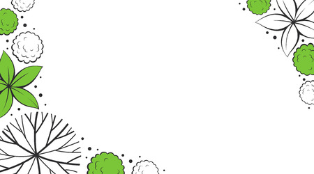 Vector plants background in green, gray and white colors Standard-Bild - 118965911