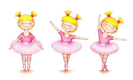 illustration of little beautiful ballet dancer in three different positions Standard-Bild - 118965915