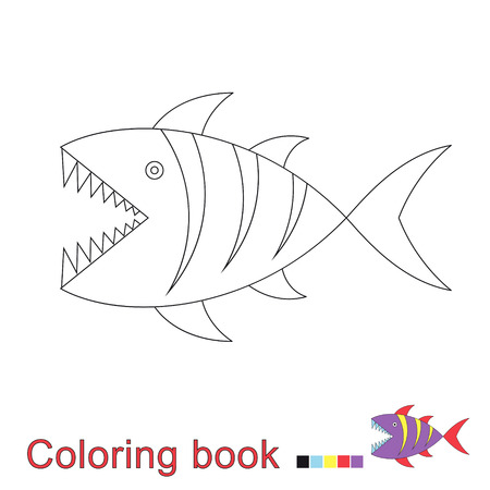 Vector illustration of shark for coloring book Standard-Bild - 118965927
