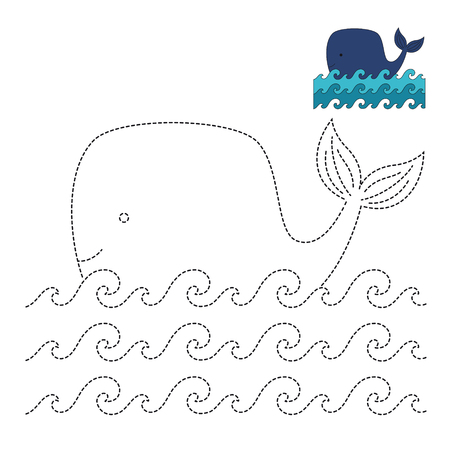 Vector illustration of whale for coloring book Standard-Bild - 118965929