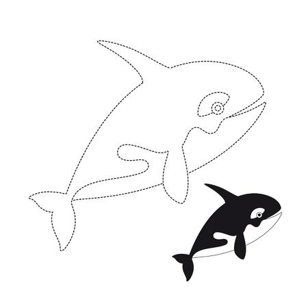 Vector illustration of killer whale for coloring book Standard-Bild - 118850822